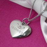 Silver Heart Princess Pendant, personalised, ref. SPHP